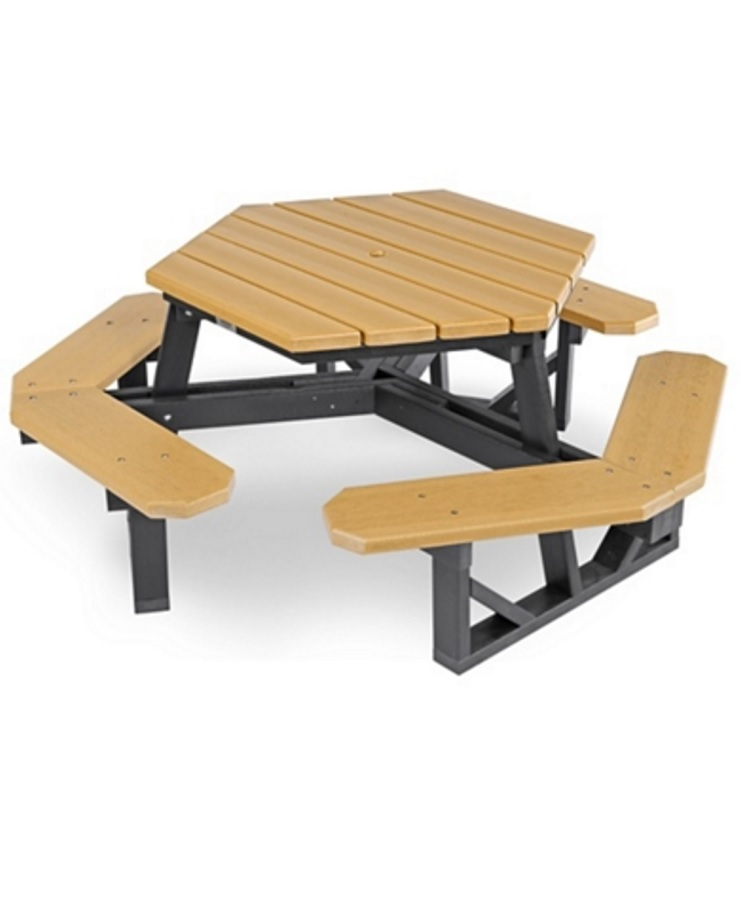 Hexagon Recycled Plastic Picnic Table Park Warehouse - Recycled plastic hexagonal picnic table