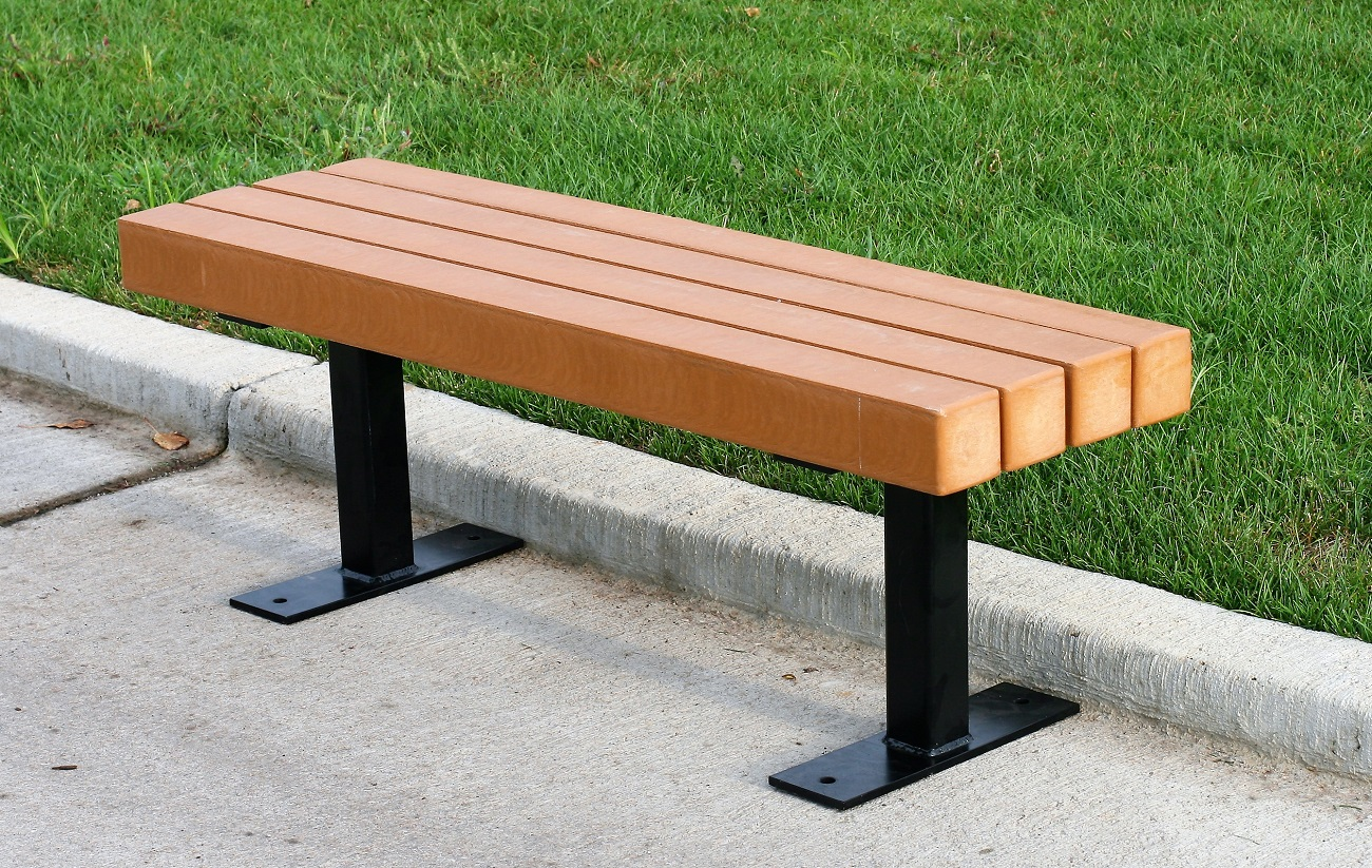 Trailside Backless Recycled Plastic Bench Park Warehouse