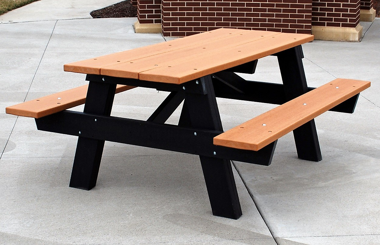 a frame recycled plastic picnic table park warehouse. Black Bedroom Furniture Sets. Home Design Ideas