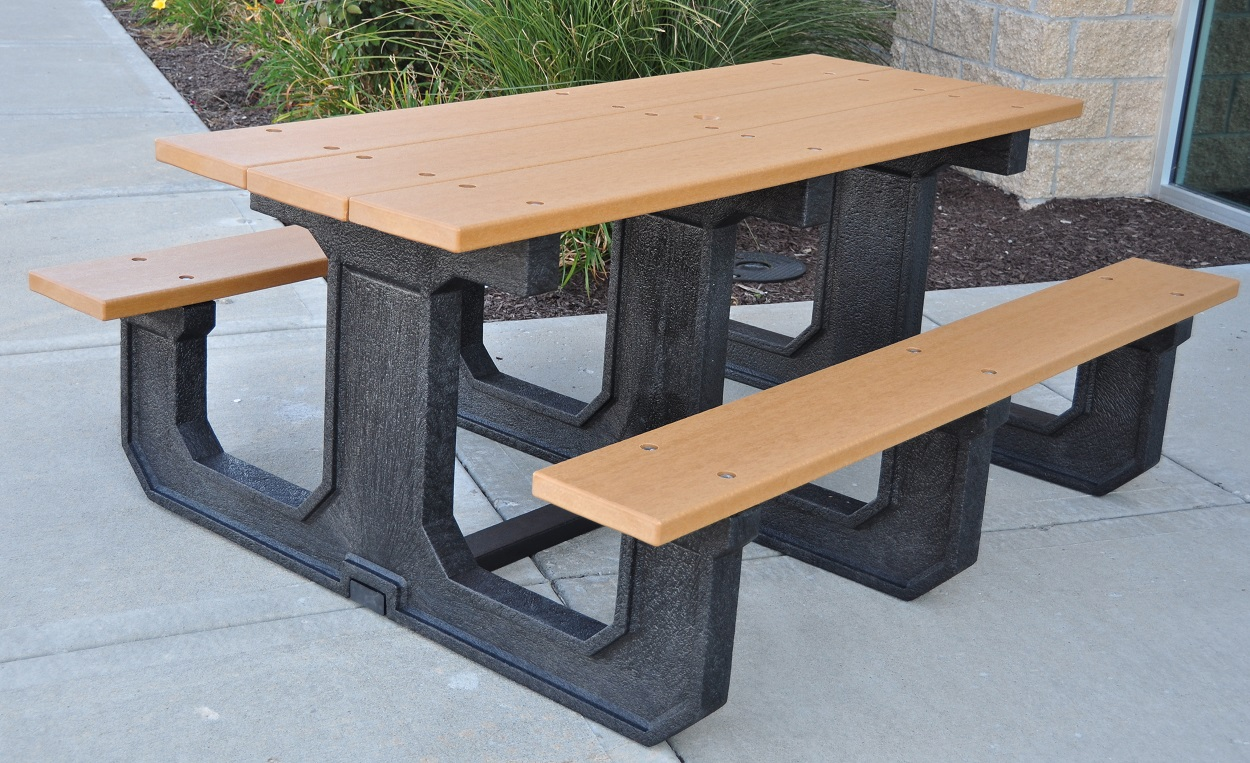 Rectangular Recycled Plastic Picnic Table Park Warehouse