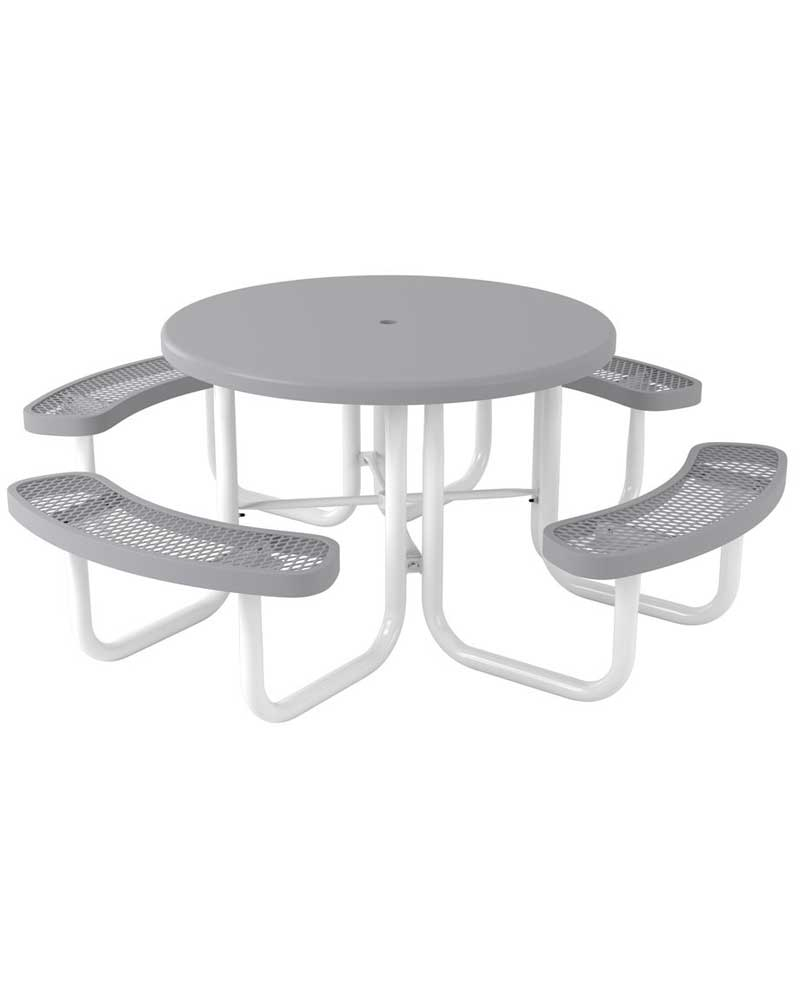 Elementary Regal Picnic Table Round Portable With Solid Top - White round picnic table