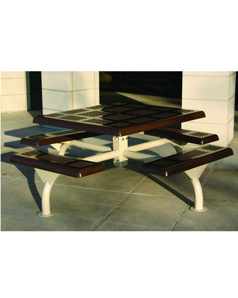 Perforated Picnic Table Square WEB Park Warehouse - Square metal picnic table