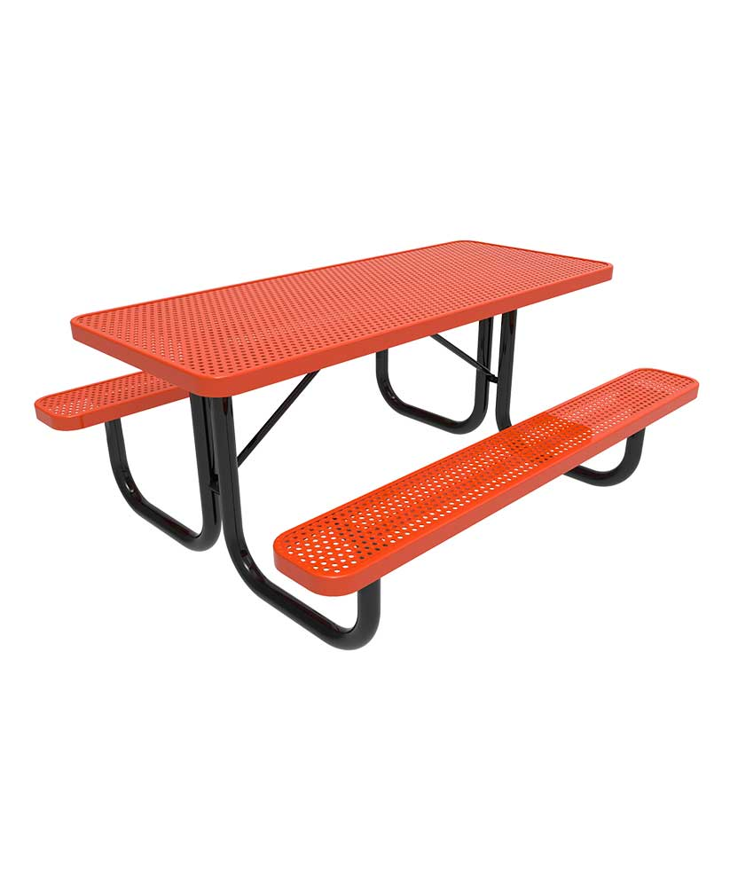 Picnic Table ParkTastic 8ft Rectangular Perforated Metal Portable