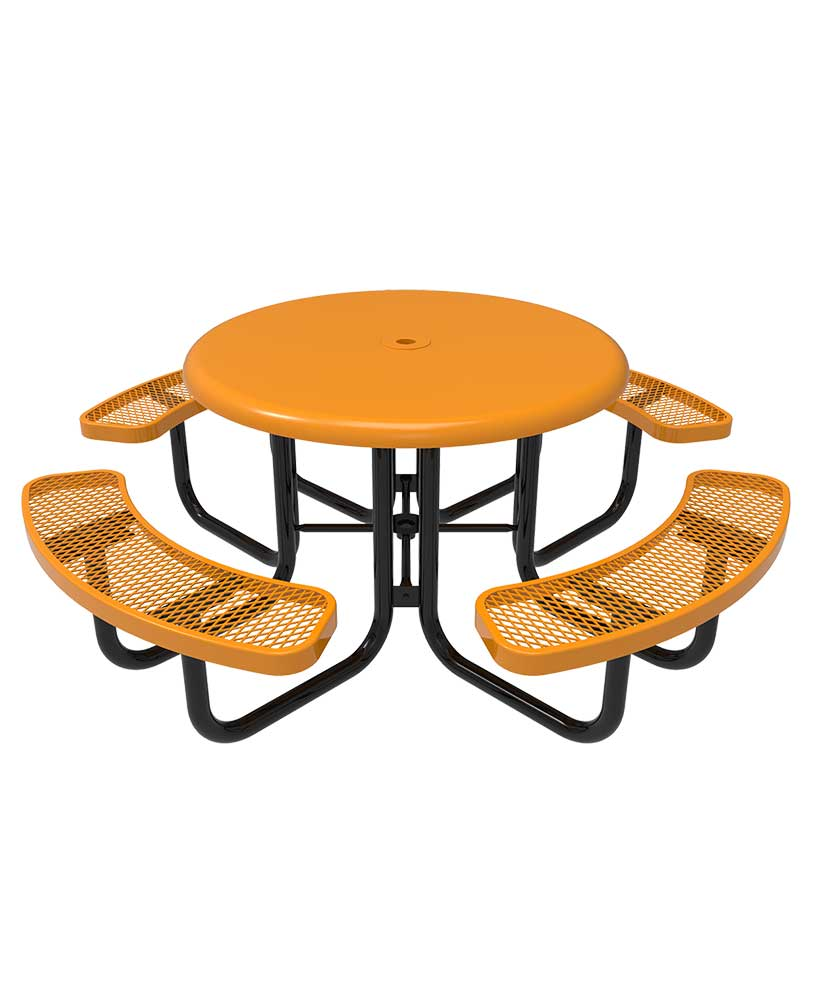 46 round solid top portable picnic table parktastic. Black Bedroom Furniture Sets. Home Design Ideas