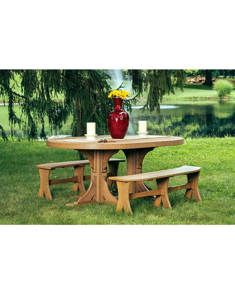 Oval Table Set With 4 Benches Curved High Density Polyethylene