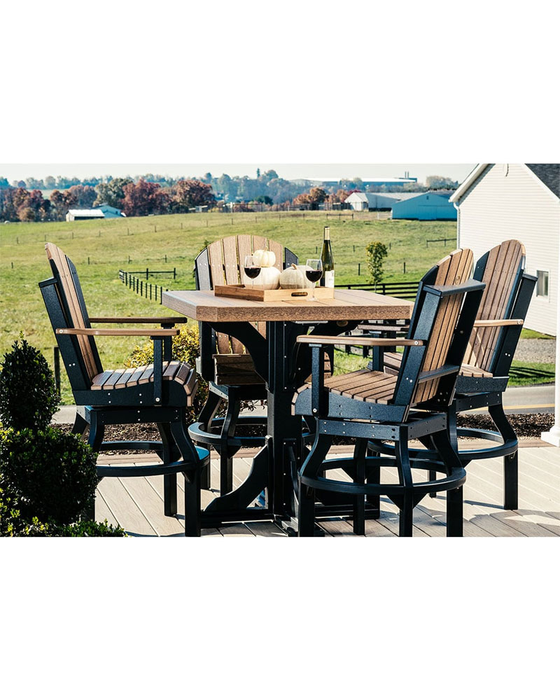 Square Table Set 41in Top With 4 Chairs High Density Polyethylene