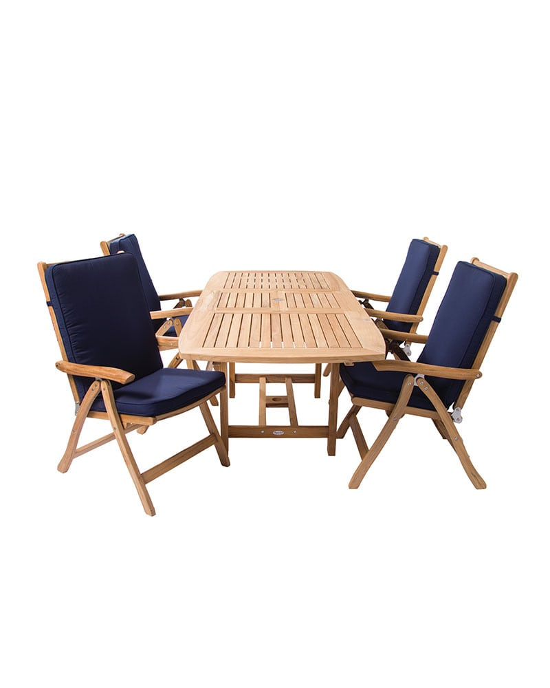 60u2033 X 78u2033 U2013 Family Extension Table Set U2013 Rectangular U2013 Wooden U2013 Teak Wood U2013  W/ 4 Estate Reclining Chairs U0026 Fullback Cushions