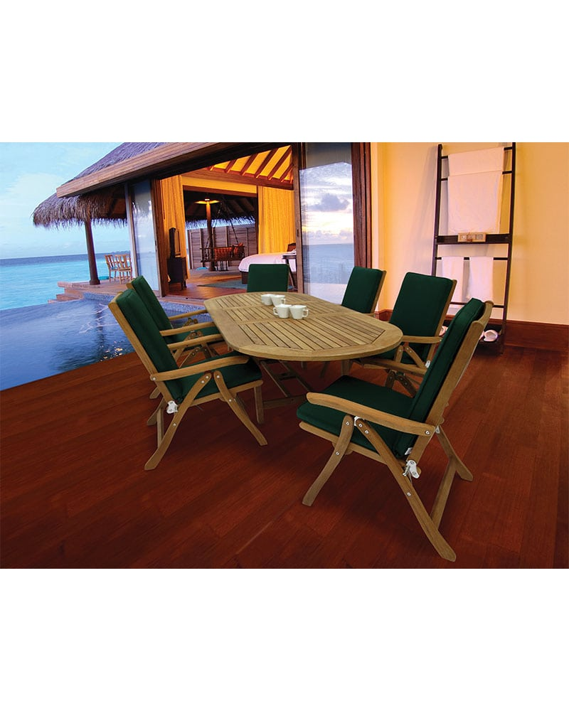 72u2033 X 96u2033 U2013 Family Extension Table Set U2013 Oval U2013 Wooden U2013 Teak Wood U2013 W/ 6  Estate Reclining Chairs U0026 6 Fullback Cushions