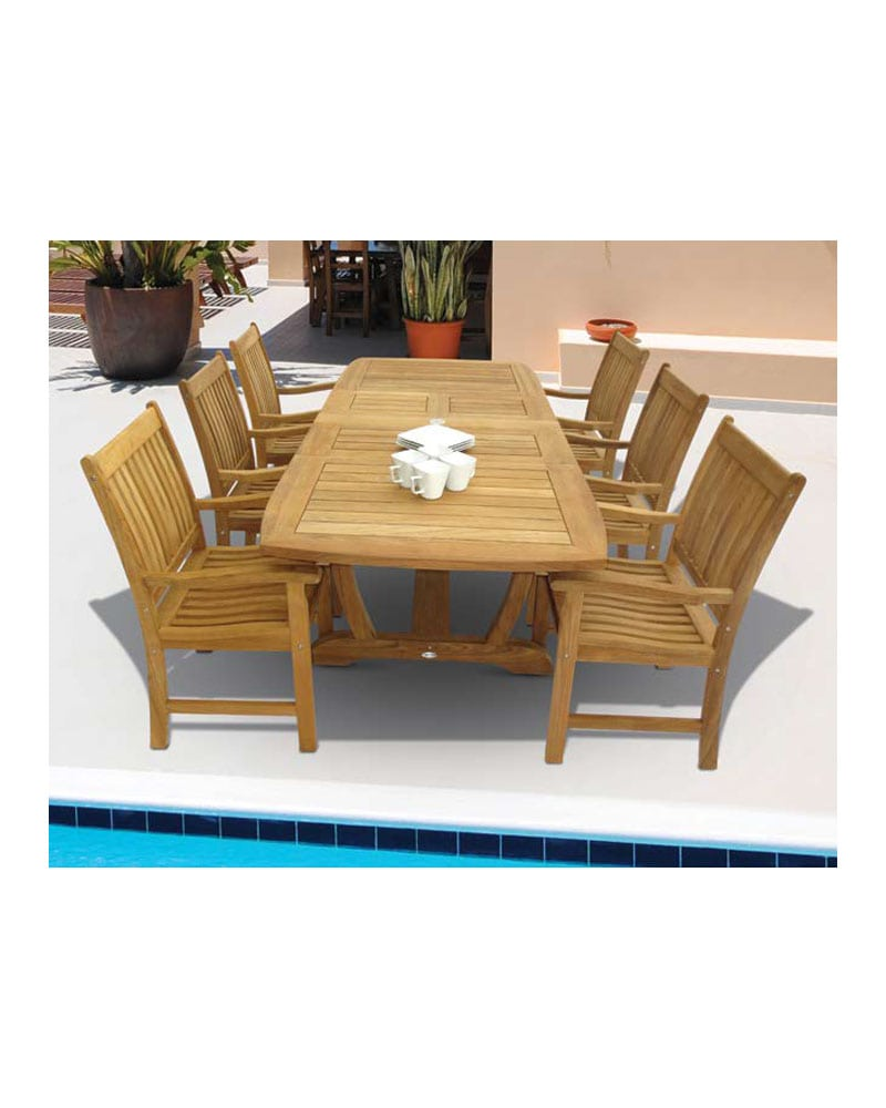 64 Gala Extension Table Set Rectangular Wooden Teak Wood W 6 Compass Arm Chairs 6 One Seater Cushions Park Warehouse
