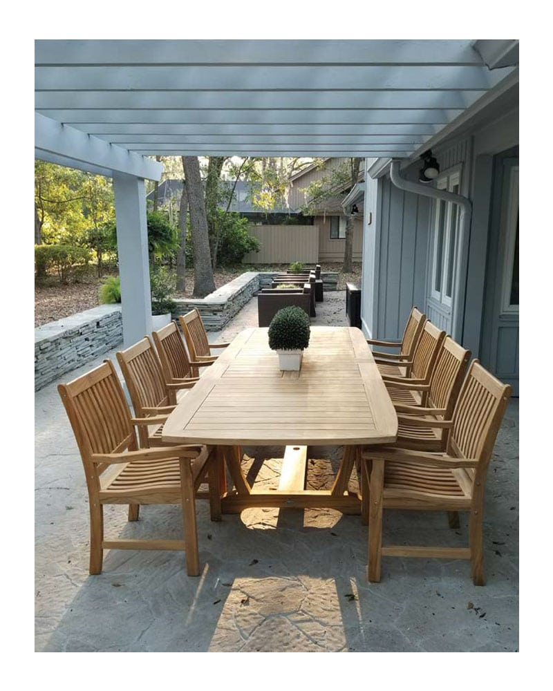 84 gala extension table set rectangular wooden teak wood w 8 compass arm chairs 8 one seater cushions