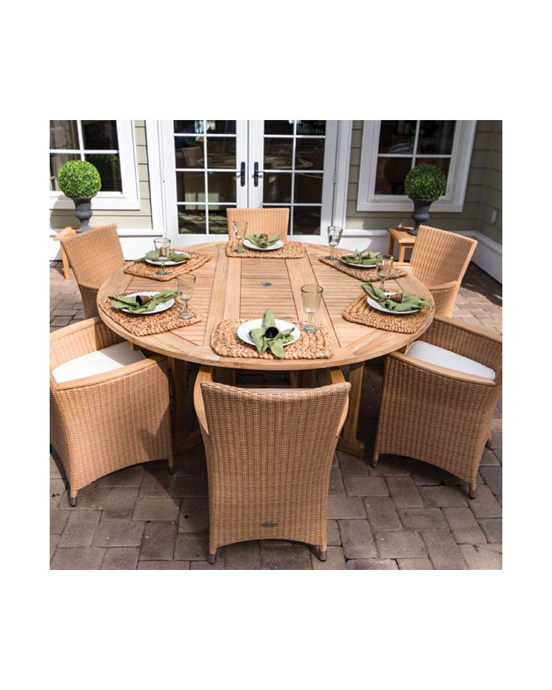 6ft Drop Leaf Table Set Round Wooden Teak Wood W 6 Helena