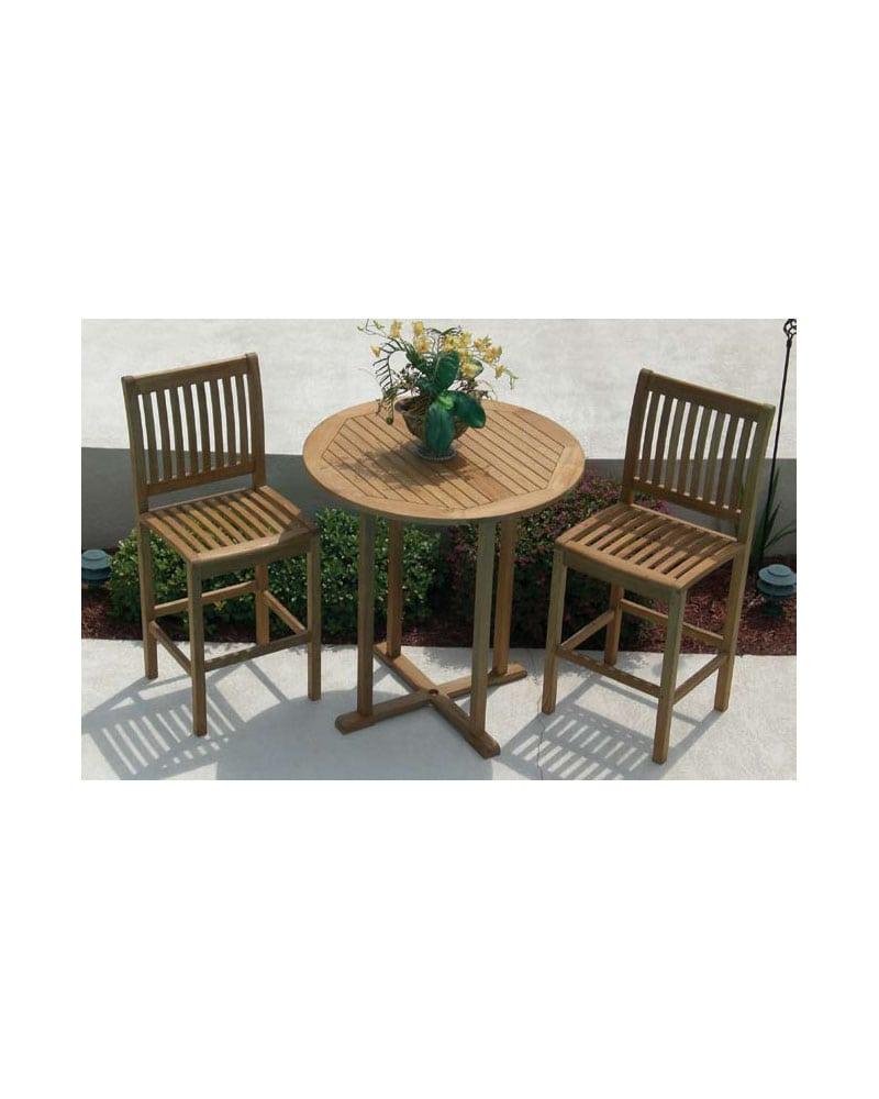 Bar Table Set - Wooden - Teak Wood - w/ 2 Bar Chairs - Park Warehouse