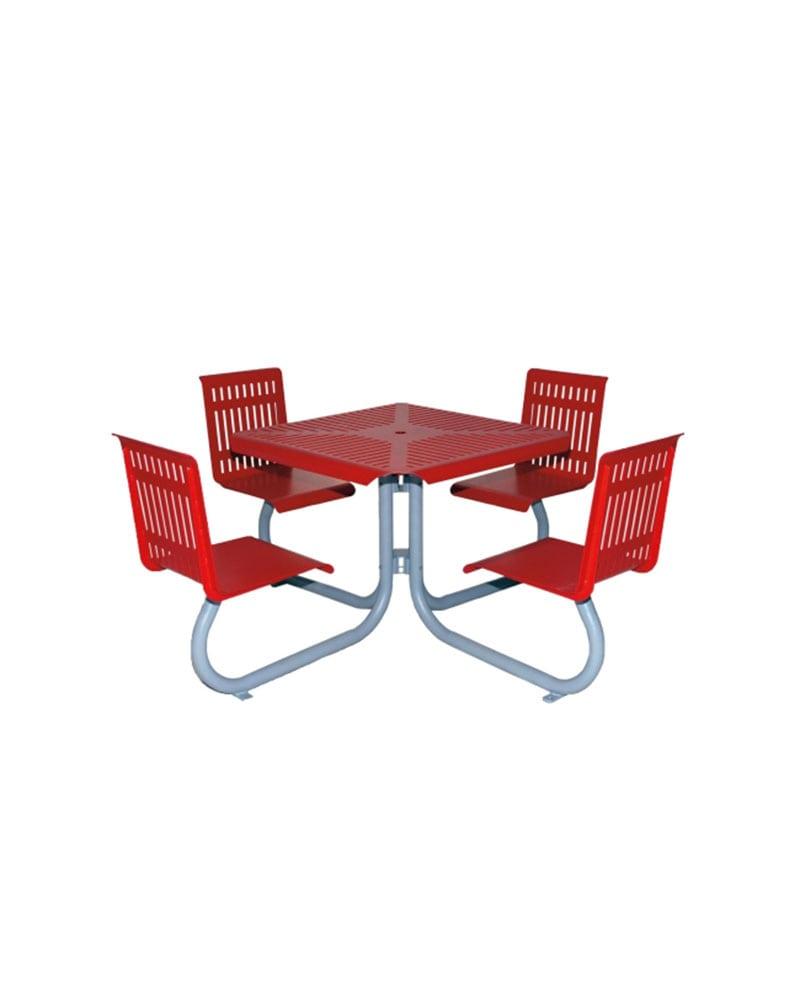 Four Seat Picnic Table W Back Square Metal Park Warehouse - Square metal picnic table