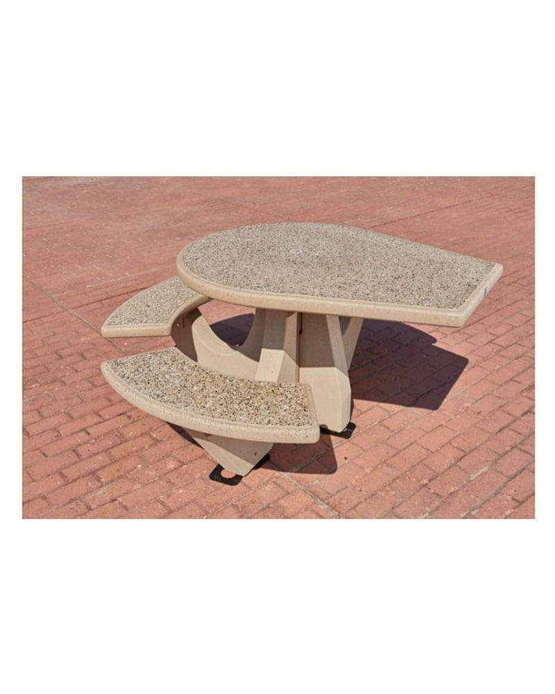 Three Bench Picnic Table Round Concrete Ada Park