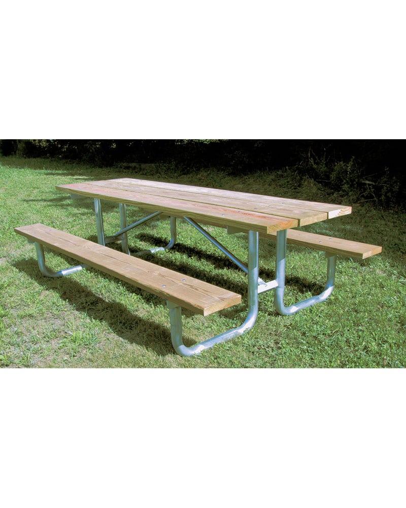 Wooden Picnic Table Pine Planks Galvanized Steel Legs Park - Tubular picnic table frame