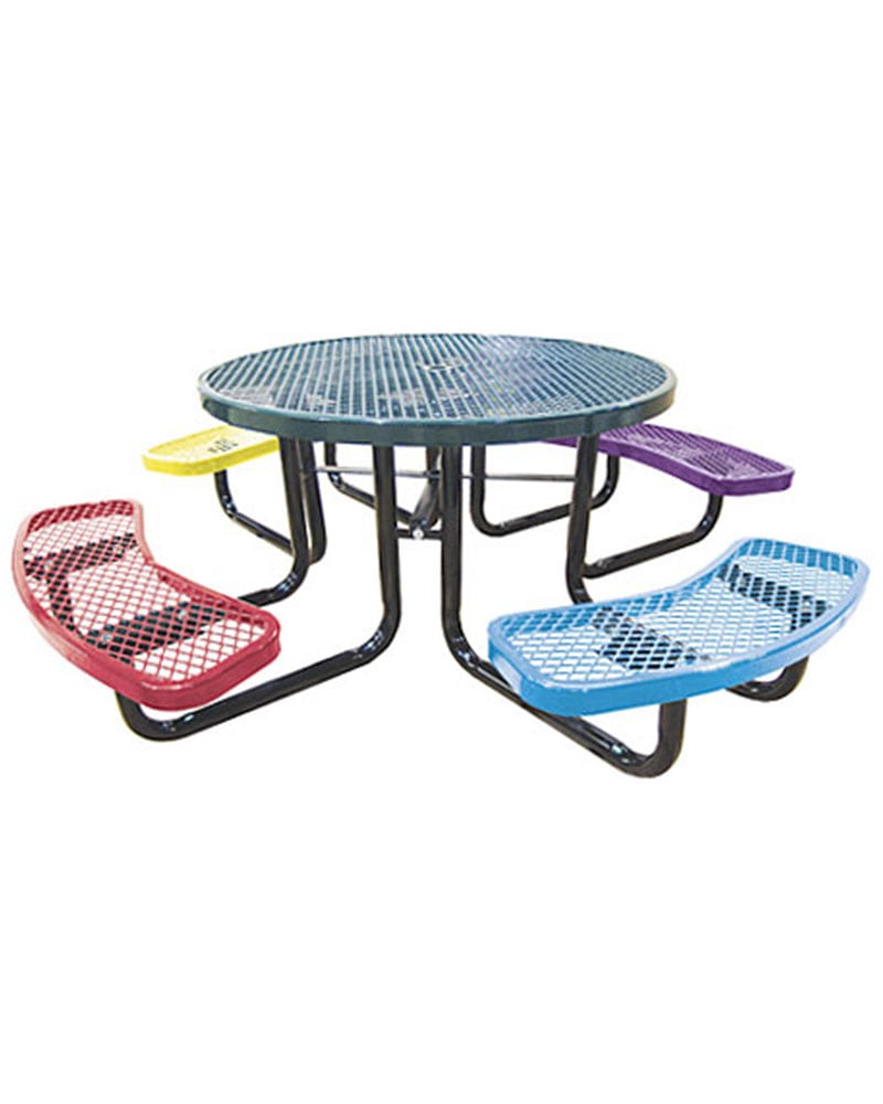 In Child Size Picnic Table Round Expanded Metal Park - Mesh picnic table