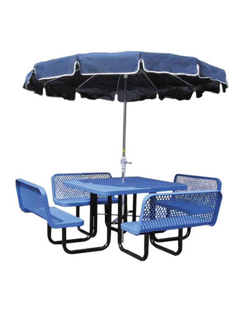 Fabulous 46In Picnic Table Square Expanded Metal With 4 Bench Gmtry Best Dining Table And Chair Ideas Images Gmtryco