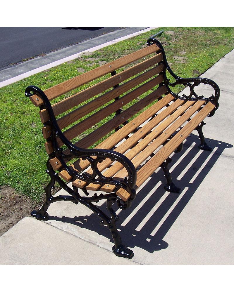 5ft Woodland Bench With Back Oak Wooden Slats