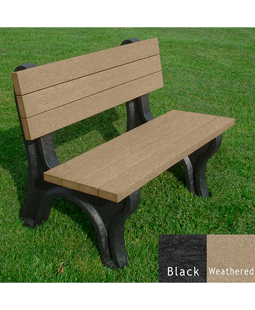 Deluxe Bench With Back Recycled Plastic Park Warehouse