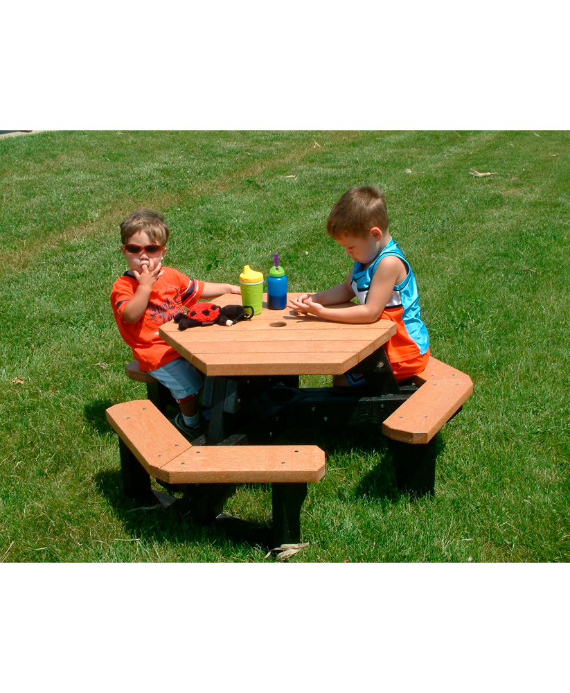Childrens Open Picnic Table Hexagon Recycled Plastic