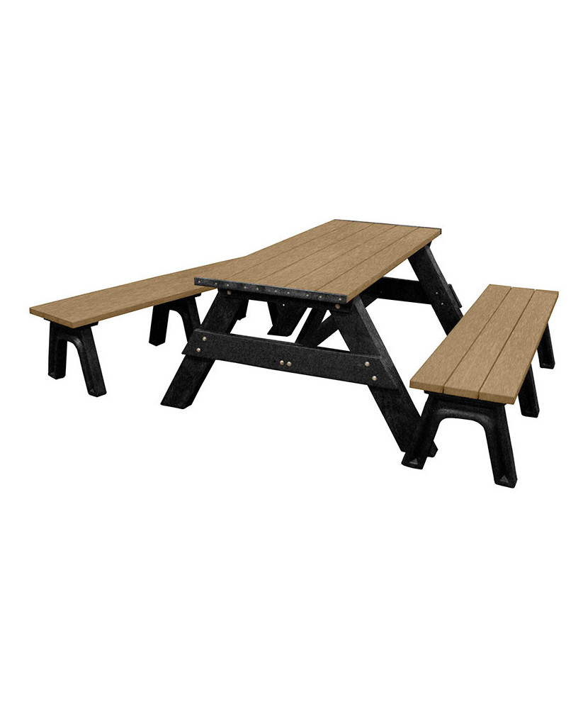 Deluxe Picnic Table 6ft Detached Seating Rectangular Recycled Plastic